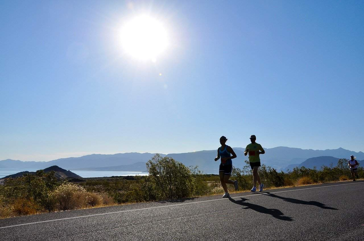 distance runners running on the road in summer